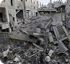 Ruinas de bombardeo a Gaza (foto de archivo)