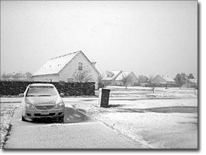 Pueblo helado por el temporal