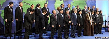 Foto de grupo de los mandatarios, sin Cristina Fernández
