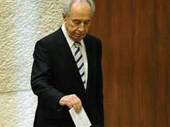 Shimon Peres, the next president of Israel, voting Wednesday in the Knesset election for the position. (Reuters)