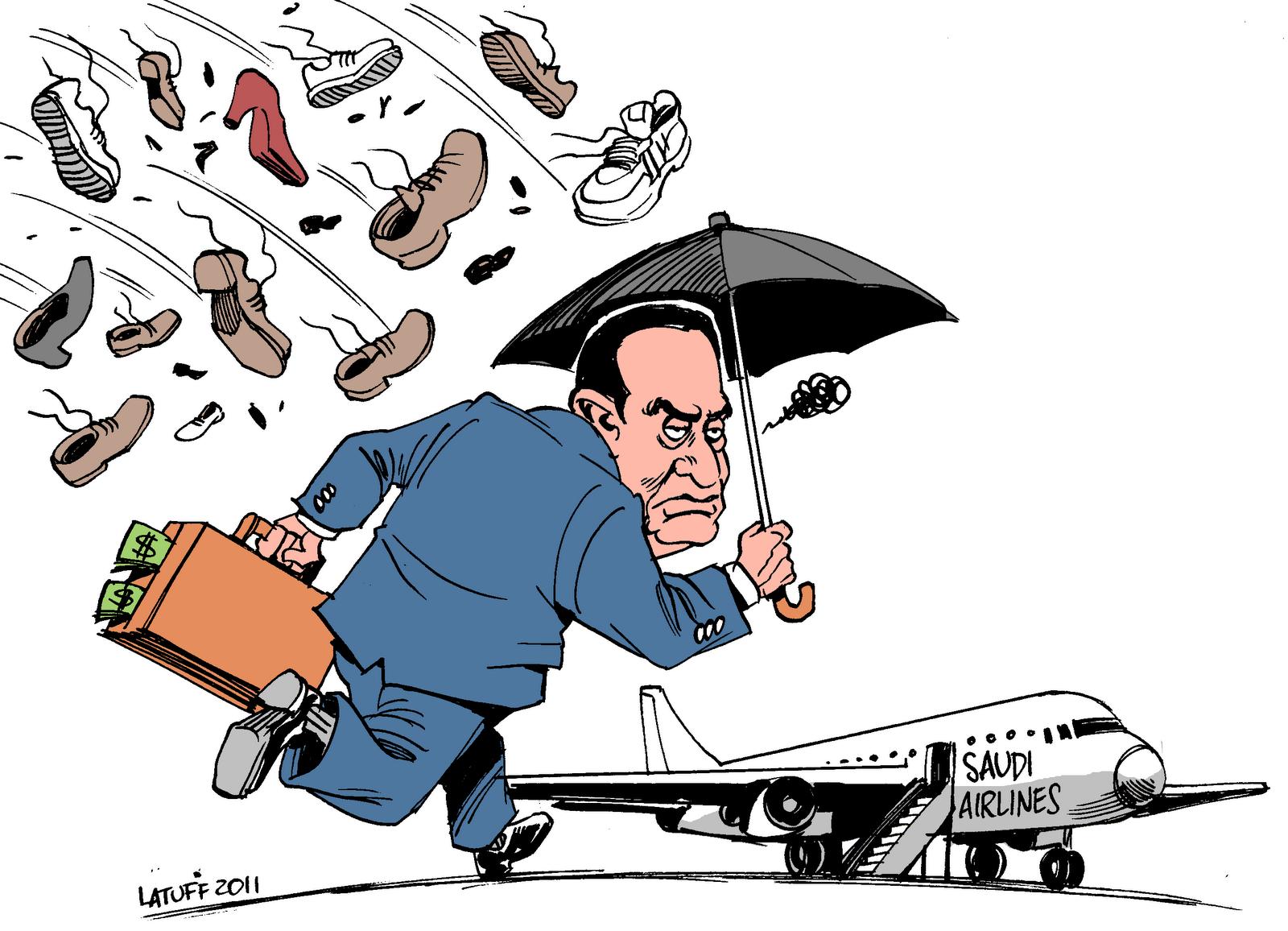 Mubarak, Egipto te despide a zapatazos. Caricatura de Carlos Latuff